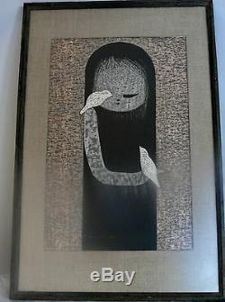 Japan Print Society Japanese Woodblock Kaoru Kawano Small Birds Signed