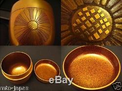 Japan Traditional Lacquer Wooden RIKYU KOUDAIJI makie NASHIJI O-natsume (411-13)