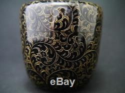 Japan WAJIMA Lacquer Wooden Tea caddy ARABESQUE design in Chinkin Natsume (416)