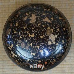 Japan lacquer Ohira antique wood container 1880's Nurimono art