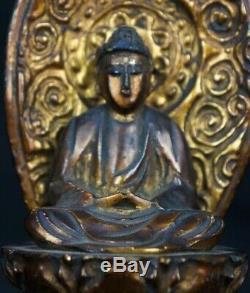 Japan wood Buddha sculpture shrine alter 1900s Japanese temple craft