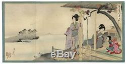 Japan woodblock triptych print-Geisha enjoy Biwa Lake