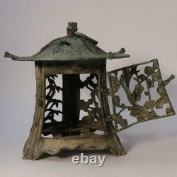 Japanese Antique Bronze lantern temple Buddhism