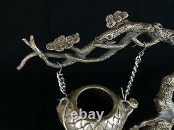 Japanese Antique Hanging KORO Incense Burner Nezumi Tree design (b463)