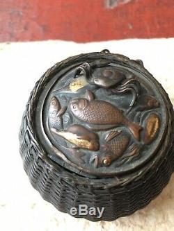 Japanese Antique Incense Burner Bronze Basket of Sea Creatures