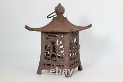 Japanese Antique Iron openwork lantern ornament Toro Buddhism BOS342-2