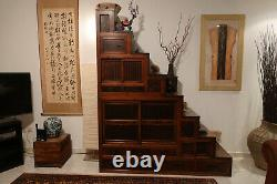 Japanese Antique Keyaki Kaidan Tansu