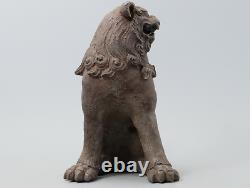 Japanese Antique Ko Bizen Ware Guardian Lion Foo Dog Statue Signed