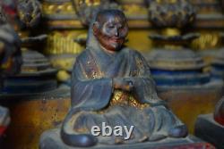 Japanese Antique Many Mini Buddha Statues in A Miniature Shrine Mid Edo Period