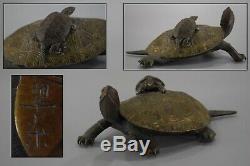 Japanese Antique Meiji Bronze Turtle Statue Figurine Japan Artist Signed