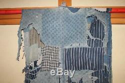 Japanese Antique Natural Indigo Cotton Patched Sashiko BORO Noragi Japan b105