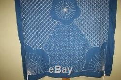 Japanese Antique Natural Indigo dye Cotton Patched Sashiko BORO BLUE Japan b548