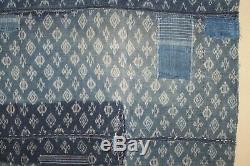 Japanese Antique Natural Indigo dye Cotton Patched Sashiko BORO BLUE Japan b553
