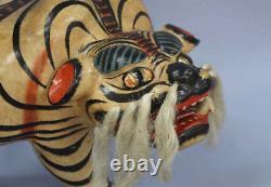 Japanese Antique Rare Large Hariko Paper Mache Tiger Figure Ornament 18 Meiji