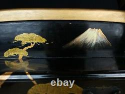 Japanese Antique Samurai Katana Kake Maki-e Lacquer Sword Rack (b821)