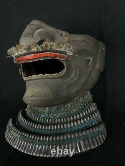 Japanese Antique Samurai Yoroi Kabuto MENPO Facial Armour Edo Period (b464)