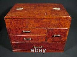 Japanese Antique Sewing Box Haribako Lidded 4 Drawer Tansu Maple & Fir Wood