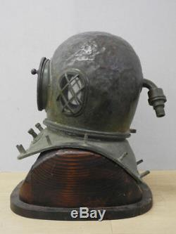Japanese Antique TOA Divers Diving Helmet with Wooden Stand