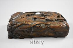 Japanese Antique Wood Carving Box Inkstone Case