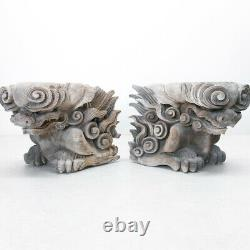 Japanese Antique Wood Carving Shishi Kibana Lion Foo Dog Pair from Temple Edo