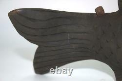 Japanese Antique wooden Jizai Kagi carp Carved wood old irori JZI59
