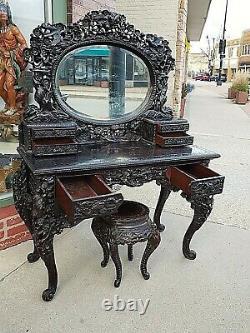 Japanese Art Nouveau antique Wood carved vanity dresser desk with mirror