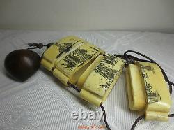 Japanese Beautiful Person and Bird Old Japanese Bovine Bone Inro, Netsuke Case