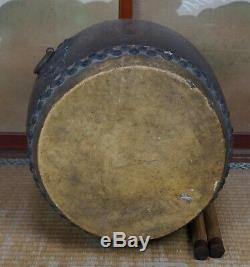 Japanese Buddhist drum antique Taiko hand craft 1800s Japan temple
