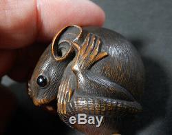 Japanese Charm Signed Rat Nezumi Edo Meiji Period Wood Y39