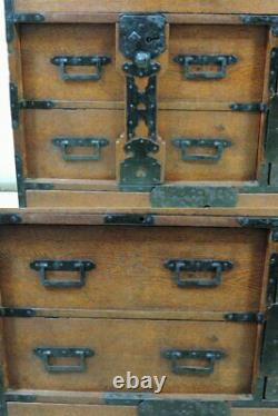 Japanese Chest antique Syounai Tansu Dansu Storage Safe Box Wood Handmade F/S