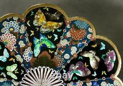 Japanese Cloisonne Charger Meiji Ginbari Silver Wire