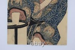 Japanese EDO Original Ukiyo-e woodblock print Bijinga by KEISAI Eisen 2 prints