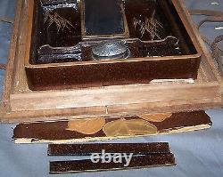Japanese Edo Korin Inlaid Maki-e Lacquer Wood Writing Box-Inkstone-Water Dropper
