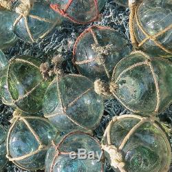 Japanese Glass Fishing FLOATS 2 Netted LOT-30 Round BULK Bridal Pool Tiki Vntg