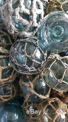 Japanese Glass Fishing FLOATS 3 Mixed LOT-26 13 Netted 13 No-Net Tiki BULK Vtg