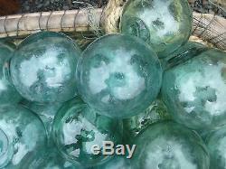 Japanese Glass Fishing FLOATS 4-4.5 LOT-20 Aqua Buoy Large Blown Glass BULK Vtg