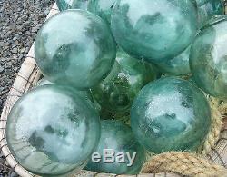 Japanese Glass Fishing FLOATS 4-4.5 LOT-36 Round Buoy BULK Tiki Ocean Vintage