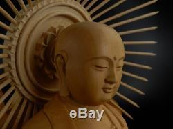 Japanese, Japan, Buddhism Jizo Bodhisattva, wooden statue Buddha 41cm