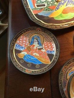 Japanese Kutani Dragon Satsuma Tea Set Moriage Immortals Gold Gilted With Tray