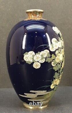 Japanese Meiji Golden Age Silver Wire & Wireless Cloisonne Vase