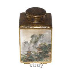 Japanese Miniature Satsuma Tea Caddy By Kinkozan