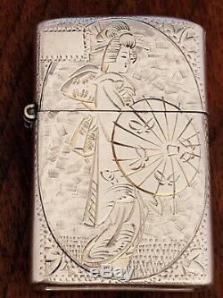 - Japanese Sterling Silver Cigarette Lighter Engraved Design Of Geisha