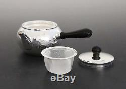 Japanese Tea Ceremony Silver Bottle Tea Kettle Teapot Silver Finish Kanji Japan