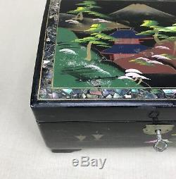 Japanese Vintage Jewelry & Music Box Hand Painted Black Lacquered Inlay Antique