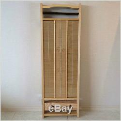 Japanese Wood Carving Folding Screen (Byoubu) 4 panels made from Bamboo bark