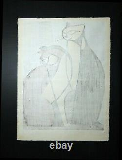 Japanese Woodblock by Tomoo Inagaki Two Cats Signed Limited Edition