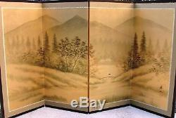 Japanese Yonkyoku Byobu Gold Leaf Folding Screen River and Country Landscape