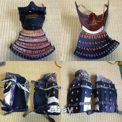 Japanese antique samurai armor busho yoroi kabuto with wooden box / vintage