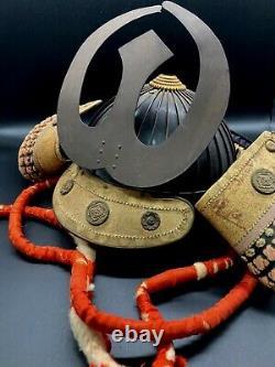 Japanese antique samurai armor busho yoroi kabuto with wooden box / vintage A