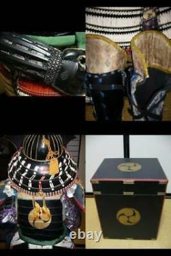 Japanese antique samurai armor busho yoroi kabuto with wooden box / vintage M